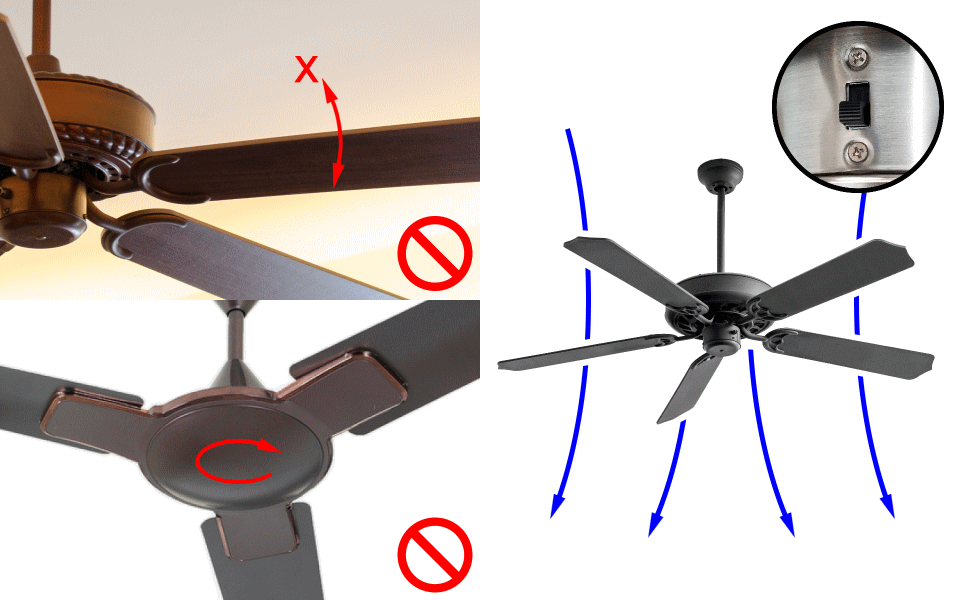 Ceiling Fan Balancer App Check. Blades must be secured. No rotating housings. Set air direction to down.