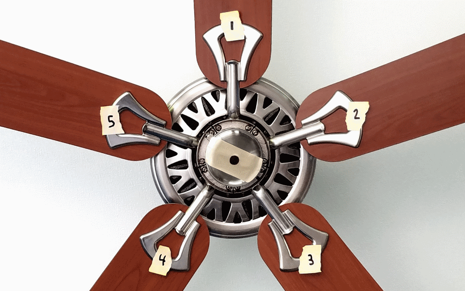 Ceiling Fan Balancer App. Number blades in a clockwise direction using masking tape.