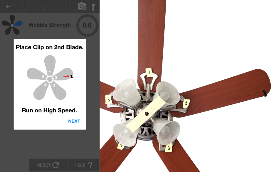 Ceiling Fan Balancer App. Place a clip on each blade and record the wobble.