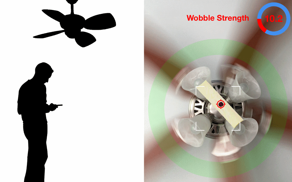 Ceiling Fan Balancer App. Hold phone under the fan to record the wobble for each blade.