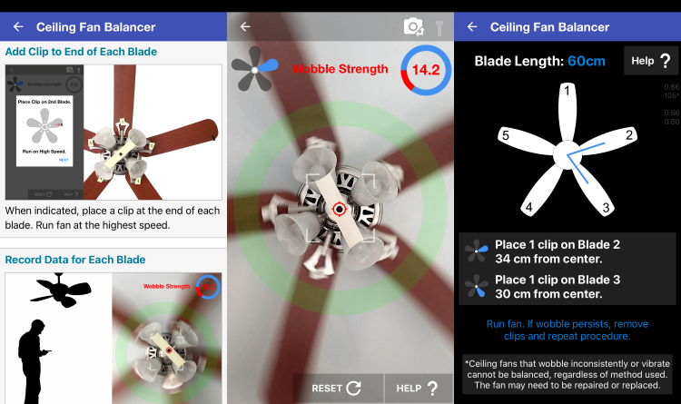 Ceiling Fan Balancer App Screenshots: Instructions, Wobble strength, Data recording using phone camera, Clip placement.